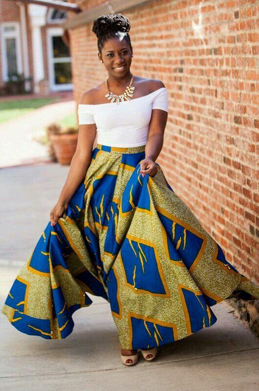 Maxi skirt with plain colored tops! Classic Ankara look!