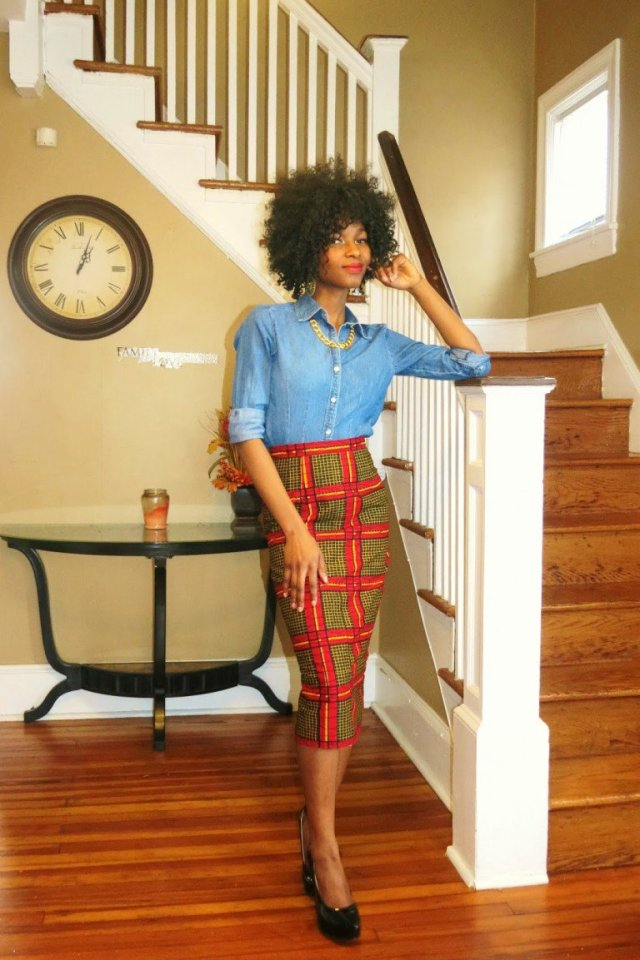 pencil skirt print african fashion (2)