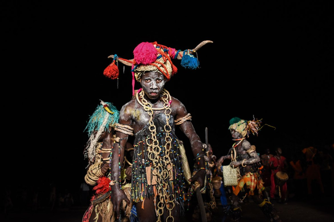 A group performs a traditional dance from the Bijagos ethnic group in Bissau. [Ricci Shryock/Al Jazeera]