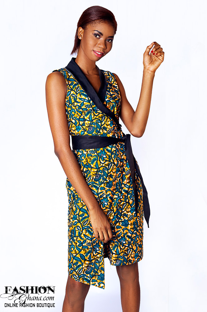 Sleeveless African Print Wrap Dress