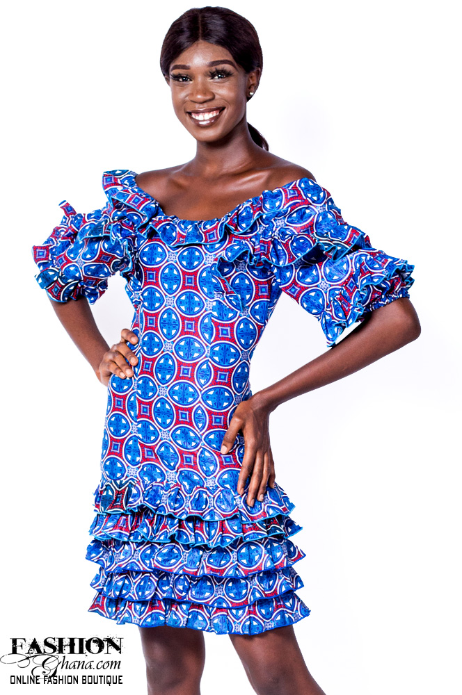 Ruffle Sleeve Off Shoulder African Print Dress