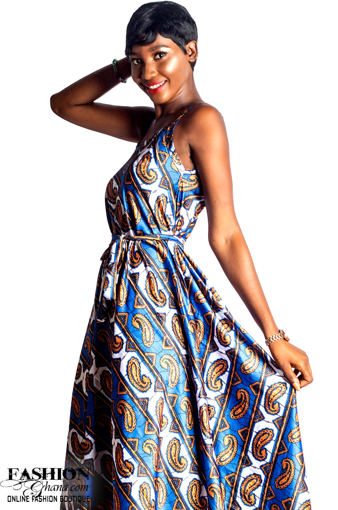 Mikoko Square Neck Silk African Print A-Line Dress