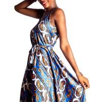 Mikoko Square Neck Silk African Print A-Line Dress