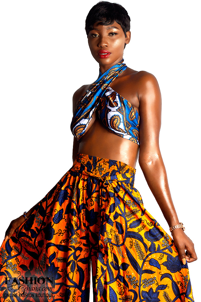 African Print Palazzo Pants & Silk Multiway Top