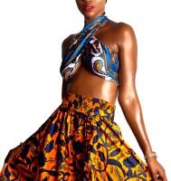 African Print Palazzo Pants & Silk Multiway Top