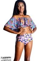Pelliguen Fold-Over Front Bardot Top 2 Piece Swimwear