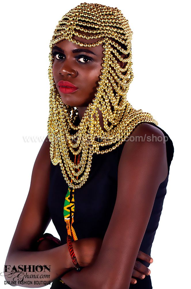 Gold Plaited Beaded Coif