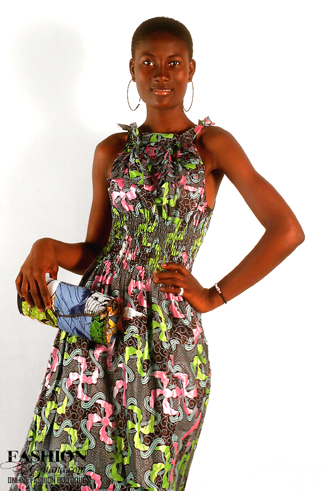 African Print Should Strapped Maxi Dress