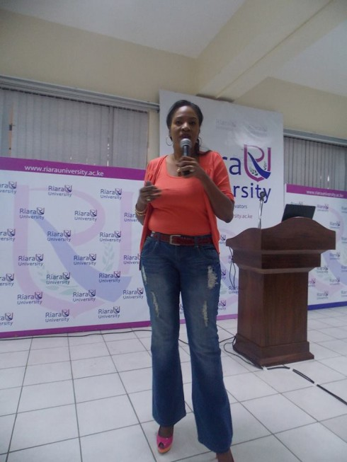 Rita Okuthe Head of Marketing at Safaricom Ltd conducting a session on Marketing and Branding during the Busiess Of Fashion