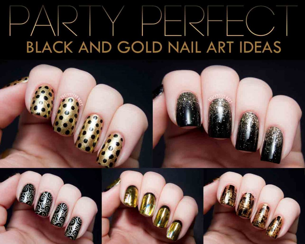 New Black And Golden Bination Eid Party Nail Art Designs 2017 For Stani S