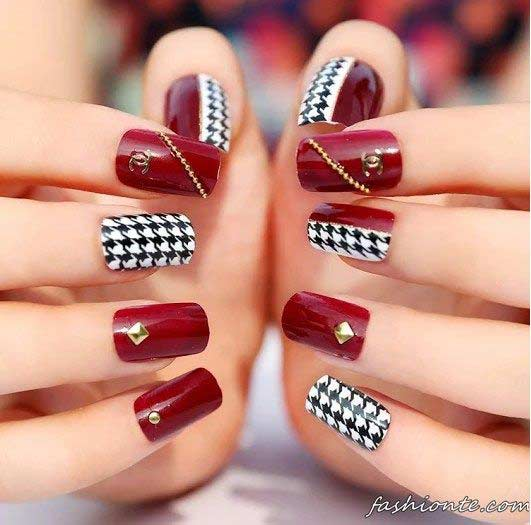 New Red And Check Box White Black Eid Party Nail Art Designs 2017 For Stani