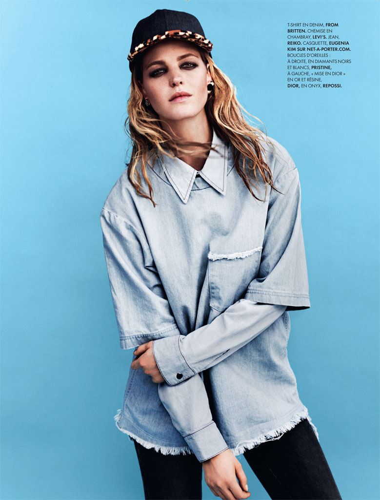 Erin Heatherton Models Denim Styles in Elle France by