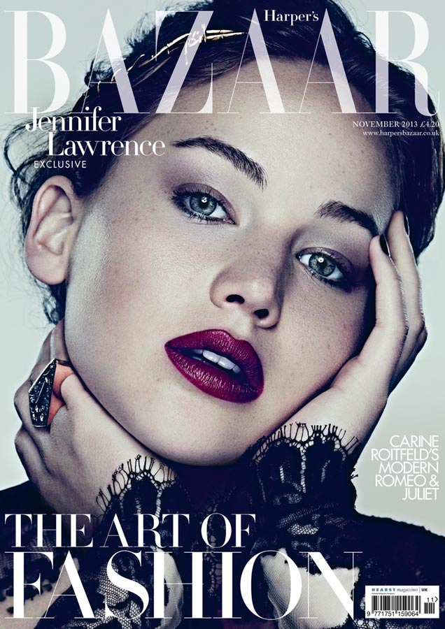 Jennifer Lawrence is a Vision for Ben Hassett in Harpers