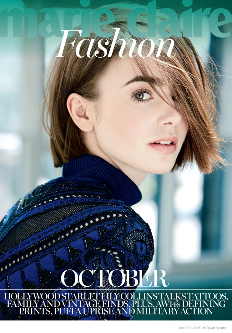 lily collins marie claire uk 2014 shoot01 Actress Lily Collins Poses in Marie Claire UK Story by David Roemer