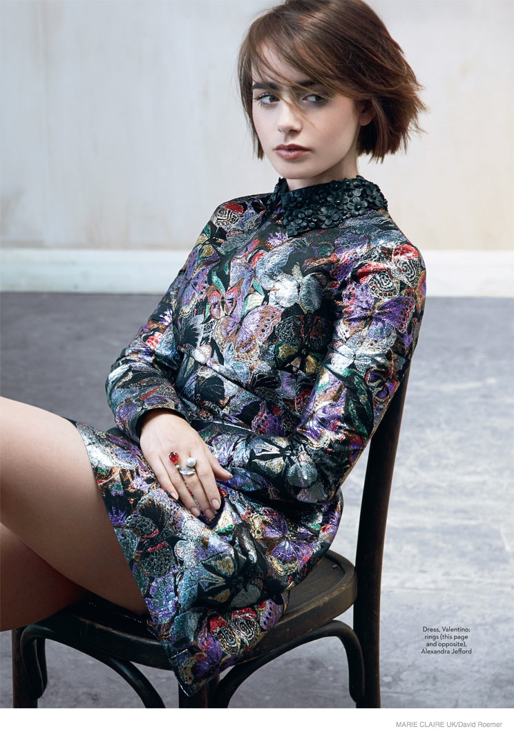 lily collins marie claire uk 2014 shoot04 Actress Lily Collins Poses in Marie Claire UK Story by David Roemer