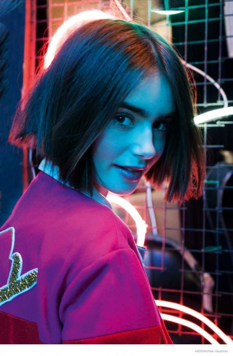 lily collins short hair asos shoot 2014 04 786x1200 Lily Collins Stars in ASOS, Talks Style & Meeting Karl Lagerfeld