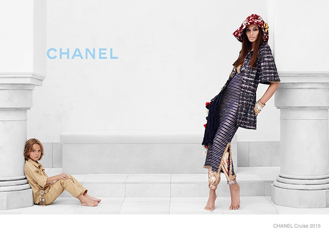 chanel cruise 2015 joan smalls02 Joan Smalls Lounges for Chanel Cruise 2015 Campaign by Karl Lagerfeld