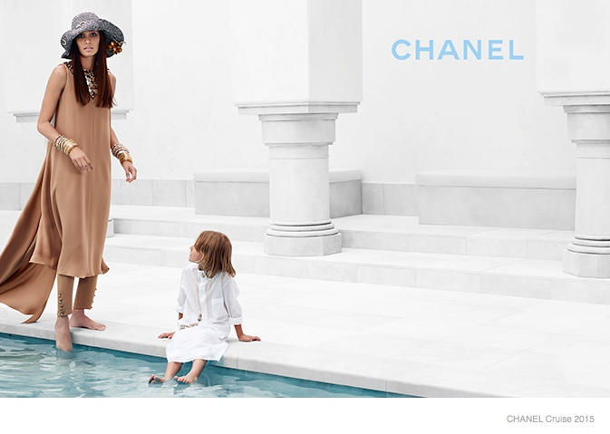 chanel cruise 2015 joan smalls08 Joan Smalls Lounges for Chanel Cruise 2015 Campaign by Karl Lagerfeld