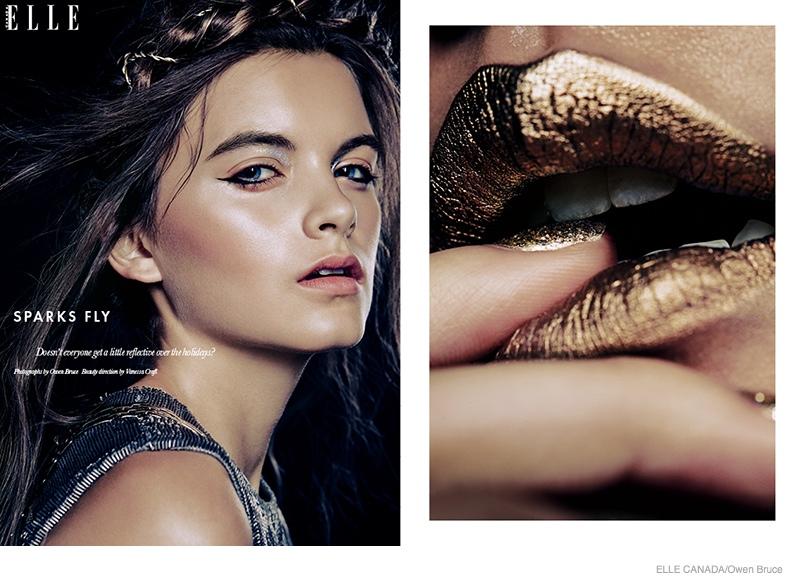 Emma  Ashley Model Glittery Holiday Makeup Looks in Elle