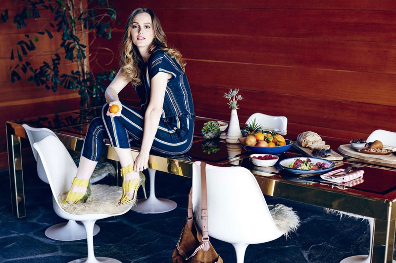 In the feature, Leighton wears shoes and accessories from the luxury brand.