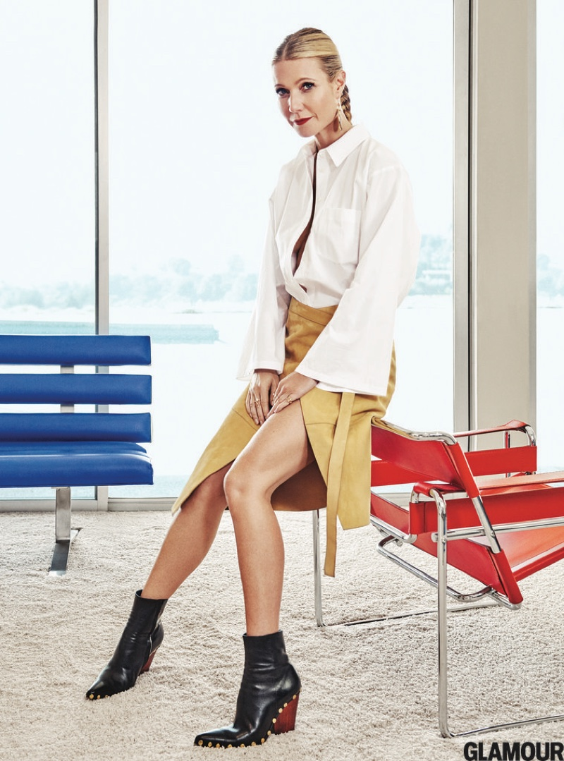Gwyneth Paltrow wears a Michael Kors blouse and suede skirt