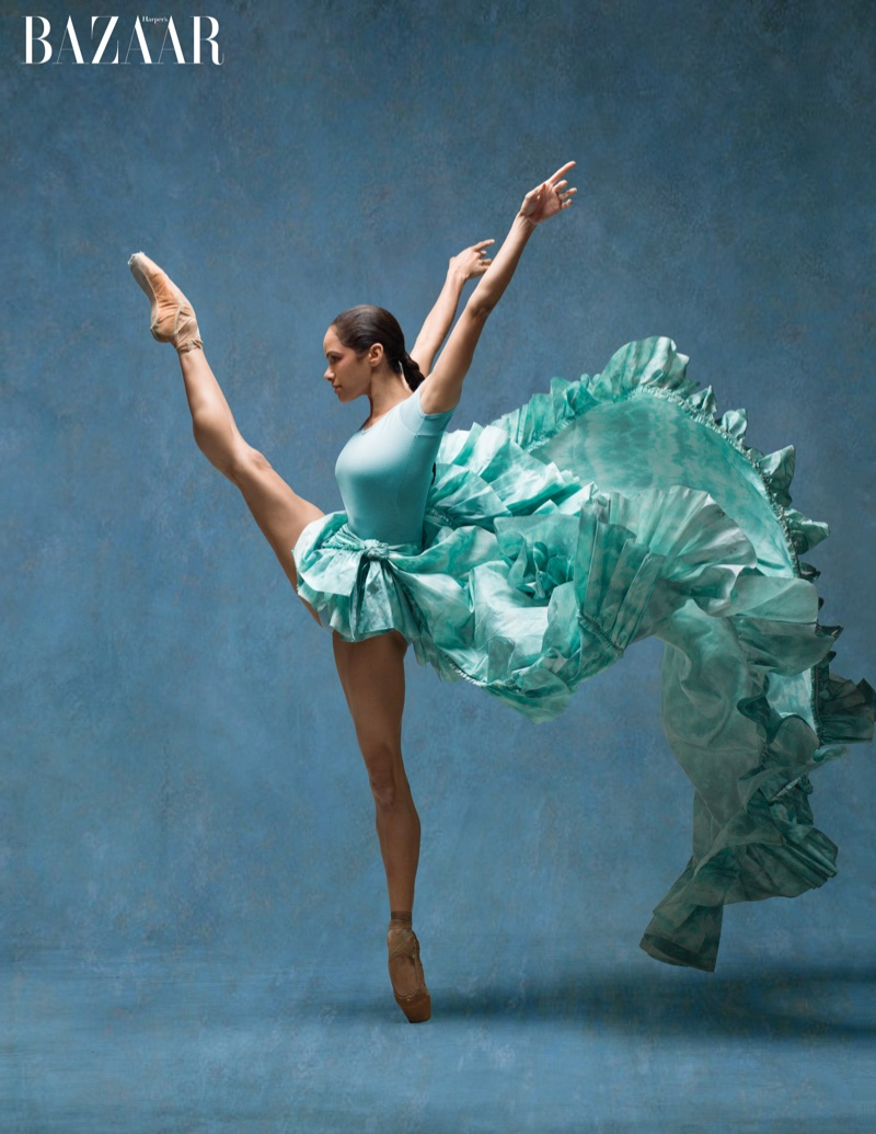 Misty Copeland shows off her ballet moves in a leotard and Roberto Cavalli skirt