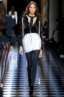 dd2094d7 Cindy Bruna walks the runway at Balmain's fall-winter 2016 show presented  during Paris Fashion