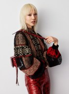 H&M Studio Fall 2016: Soo Joo Park wears embellished blouse with red pants