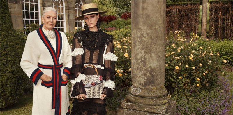 Gucci focuses on English inspiration for cruise 2017 advertisements, Gucci Goes Totally British with Cruise, Gucci, British with Cruise, Cruise 2017 Ads, Cruise 2017, Vanessa Redgrave2017 campaign, Westminister Abbey, Glen Luchford, Hannelore Knuts, Ellen de Weer, Sophia Friesen, Nika Cole, Dwight Hoogendijk, Nick Fortna, Conner Rowson, Victor Kusma, Chatsworth House