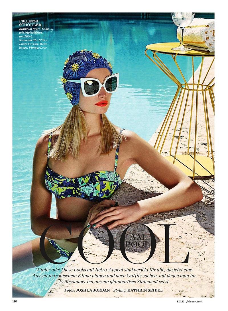 Maud Welzen wears Proenza Schouler bikini and Linda Farrow x N 21 sunglasses
