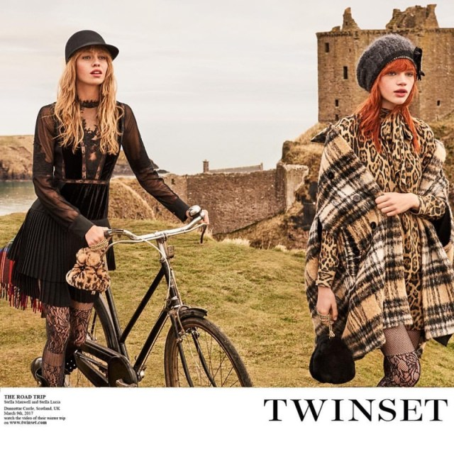 Stella Maxwell and Stella Lucia pose at Scotland's Dunnottar Castle for Twinset's fall 2017 campaign