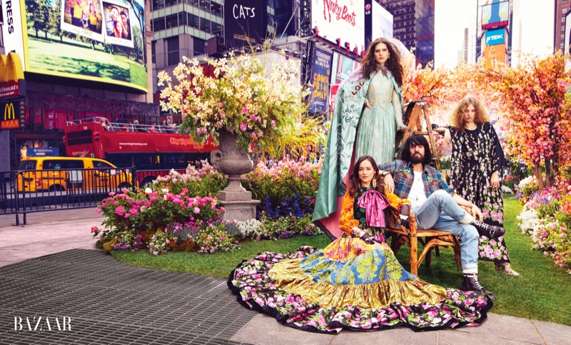 Hari Nef, Dakota Johnson, Gucci designer Alessandro Michele and Petra Collins pose in Times Square