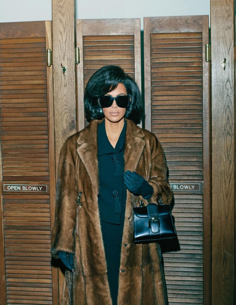 Kim Kardashian channels retro style in a fur coat