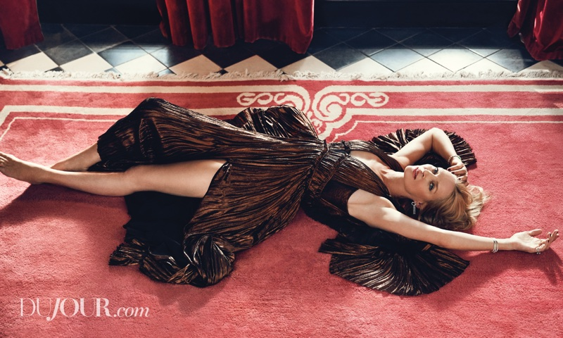Actress Uma Thurman poses in J. Mendel gown