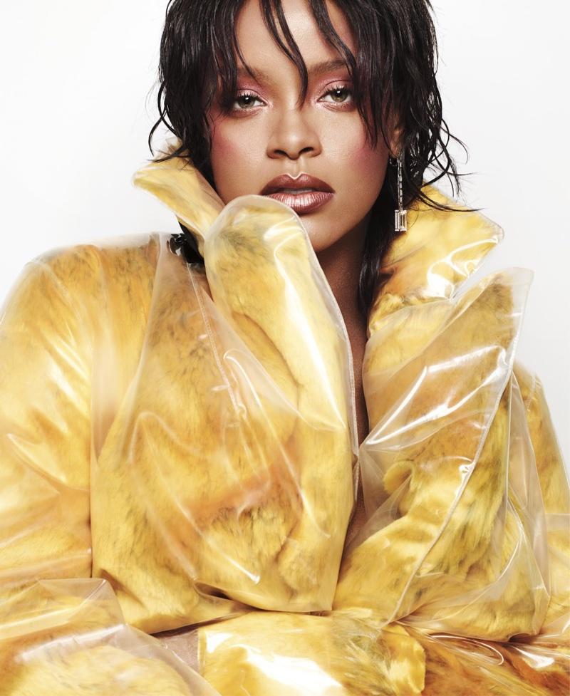 Singer Rihanna wears yellow Calvin Klein coat
