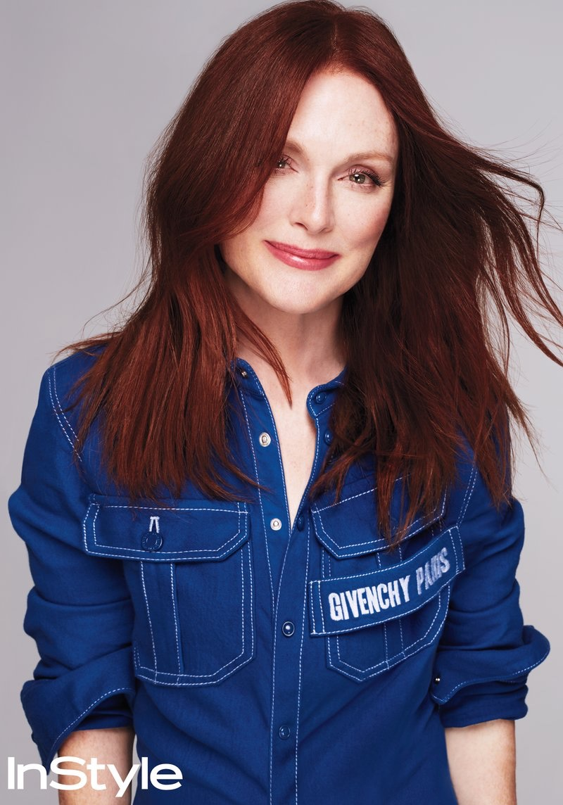 Julianne Moore flashes a smile in Givenchy shirt