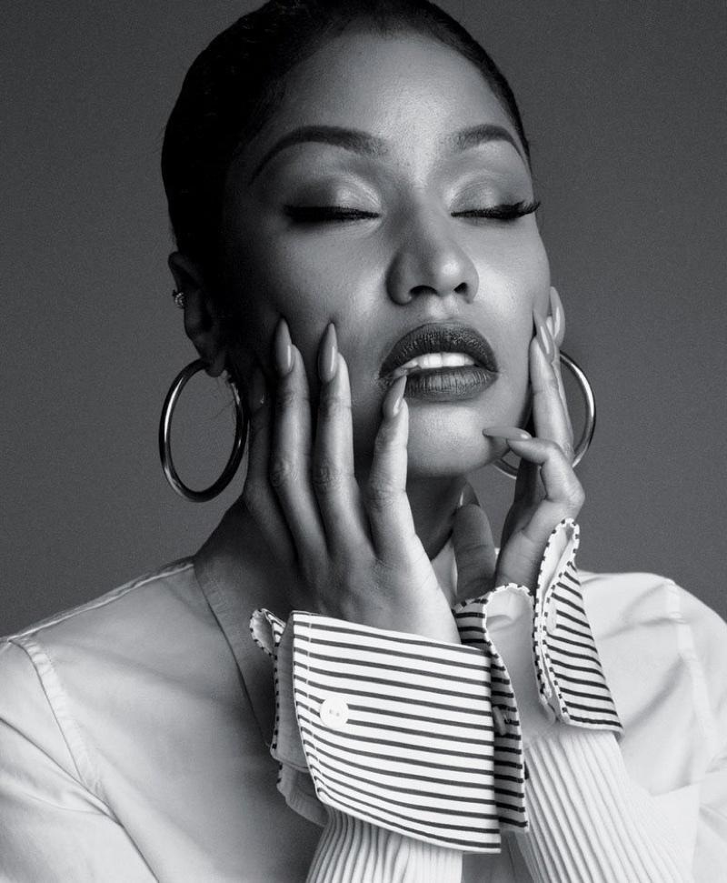 Rapper Nicki Minaj wears Louis Vuitton shirt