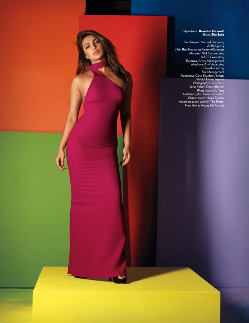Priyanka Chopra wears Brandon Maxwell dress and Elie Saab heels