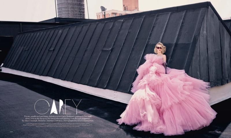 Actress Carey Mulligan wears bubblegum pink Gambattista Valli haute couture ballgown