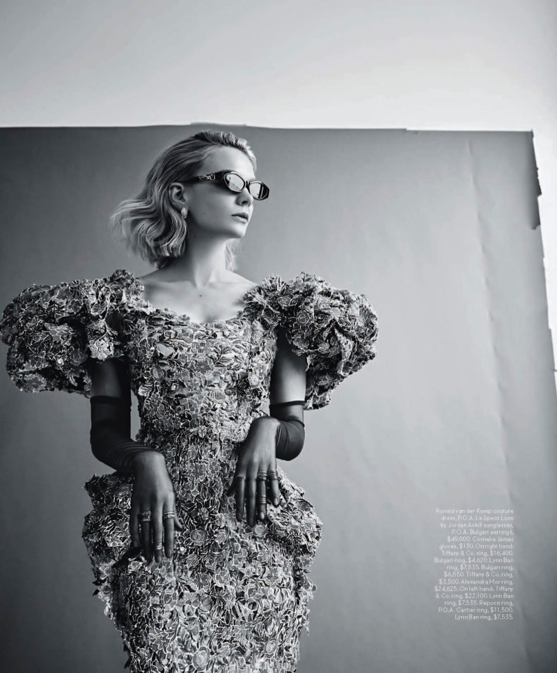Photographed in black and white, Carey Mulligan wears Ronald van der Kemp couture dress with Le Specs Luxe by Jordan Askill sunglasses
