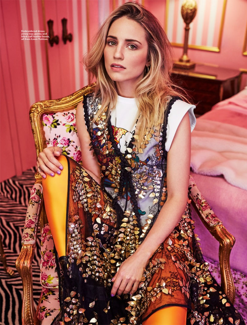 Dianna Agron poses in Louis Vuitton embroidered dress, top, pants and boots