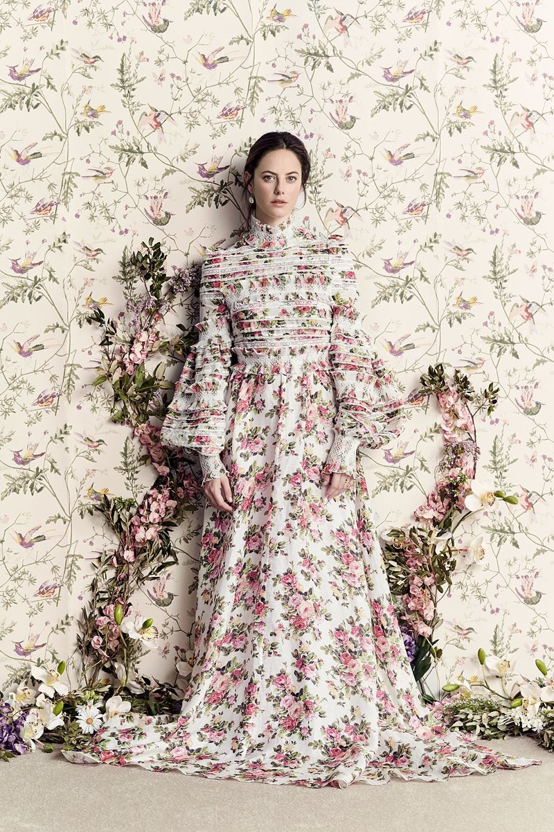 Actress Kaya Scodelario wears a maxi floral print dress