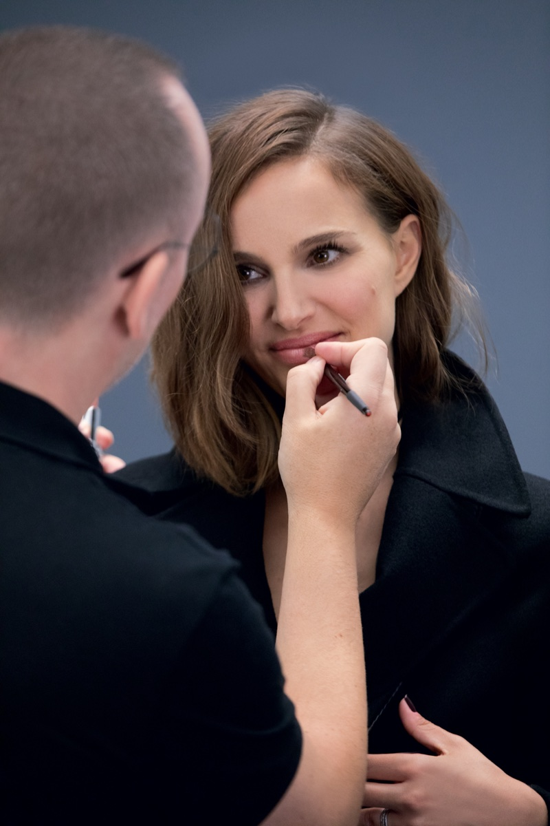 Actress Natalie Portman readies for a touch up on set of Dior beauty shoot