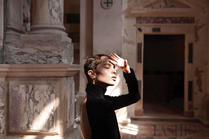 Actress Zoe Kravitz poses for FASHION Magazine