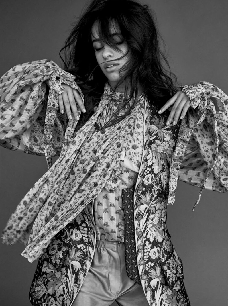 Photographed in black and white, Camila Cabello wears complete look from Louis Vuitton