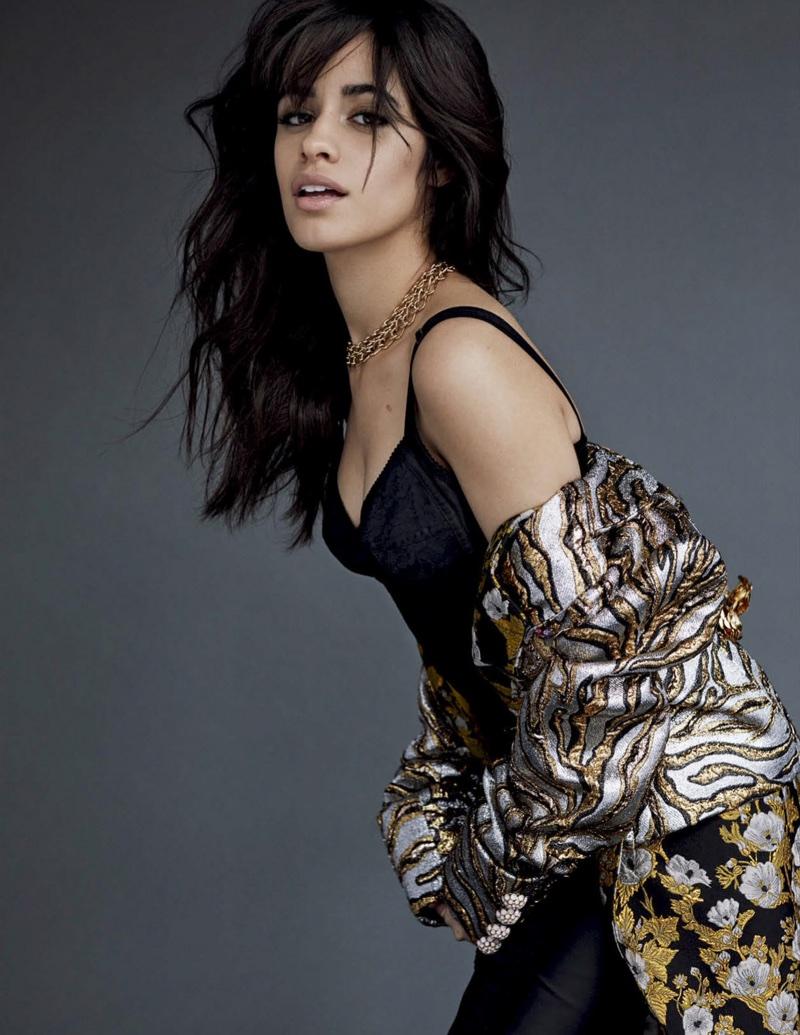 Camila Cabello wears Dolce & Gabbana dress and brocade jacket