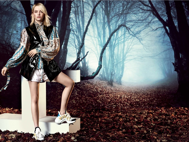 Actress Emma Stone poses in head to toe Louis Vuitton