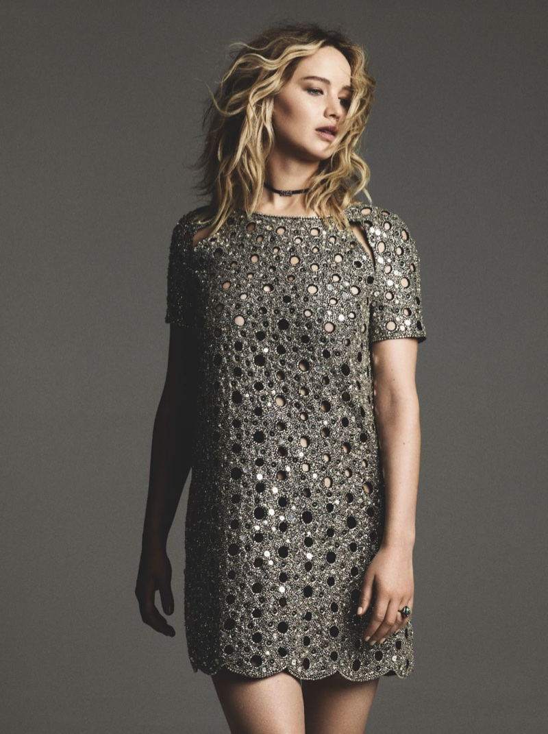 Turning up the shine factor, Jennifer Lawrence wears silver Dior dress