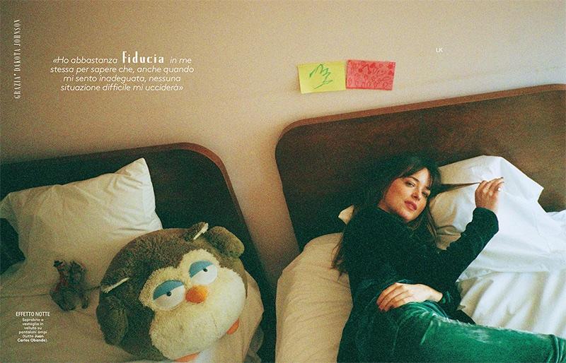 Posing in bed, Dakota Johnson wears Juan Carlos Obando look