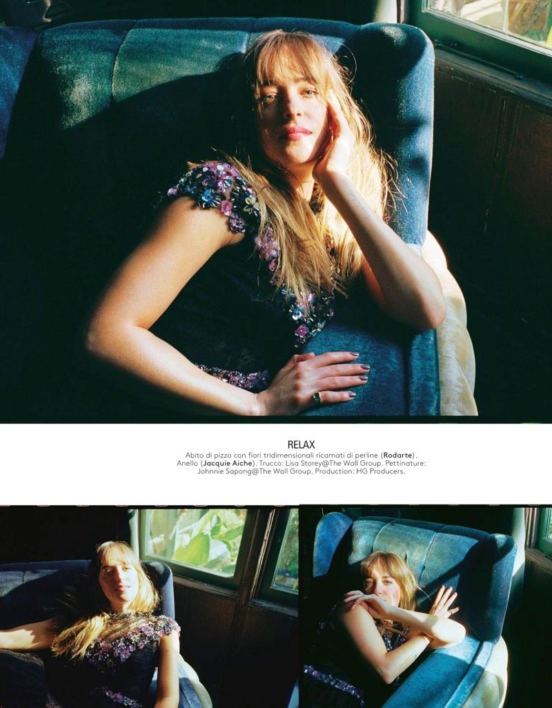 Dakota Johnson wears Rodarte floral embellished dress